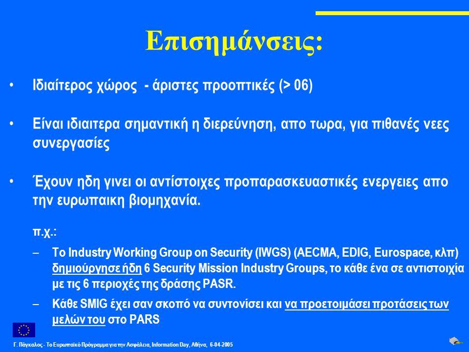 Γ. Πάγκαλος - Το Ευρωπαϊκό Πρόγραμμα για την Ασφάλεια, Information Day, Αθήνα, 6-04-2005 Επισημάνσεις: Ιδιαίτερος χώρος - άριστες προοπτικές (> 06) Εί