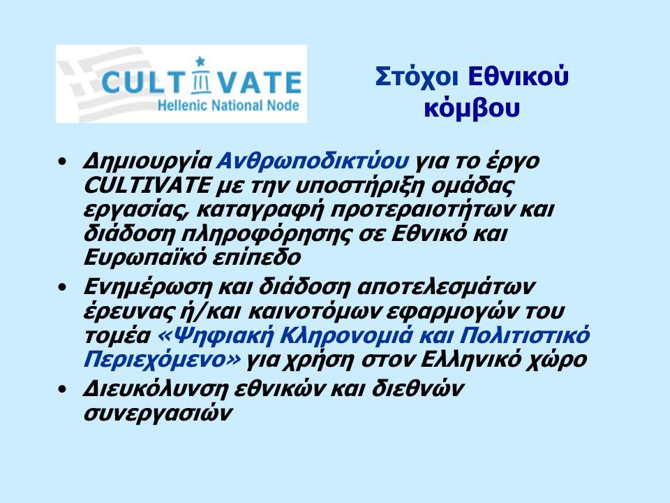 Δημιουργία Ελληνικής Ιστοσελίδας για το έργο Cultivate, με σύνδεση σε βασικούς εθνικούς κόμβους ενημέρωσης για την Πολιτιστική Κληρονομιά (http://www.ekt.gr/cultivate)http://www.ekt.gr/cultivate Ενημέρωση δυνατοτήτων που παρέχονται από άλλους εταίρους του προγράμματος, όπως: –Πρόσβαση στο Cultivate Interactive Magazine (UKOLN) –Πρόσβαση στην ηλεκτρονική βάση ψηφιοποιημένων εντύπων της Ε.Ε.