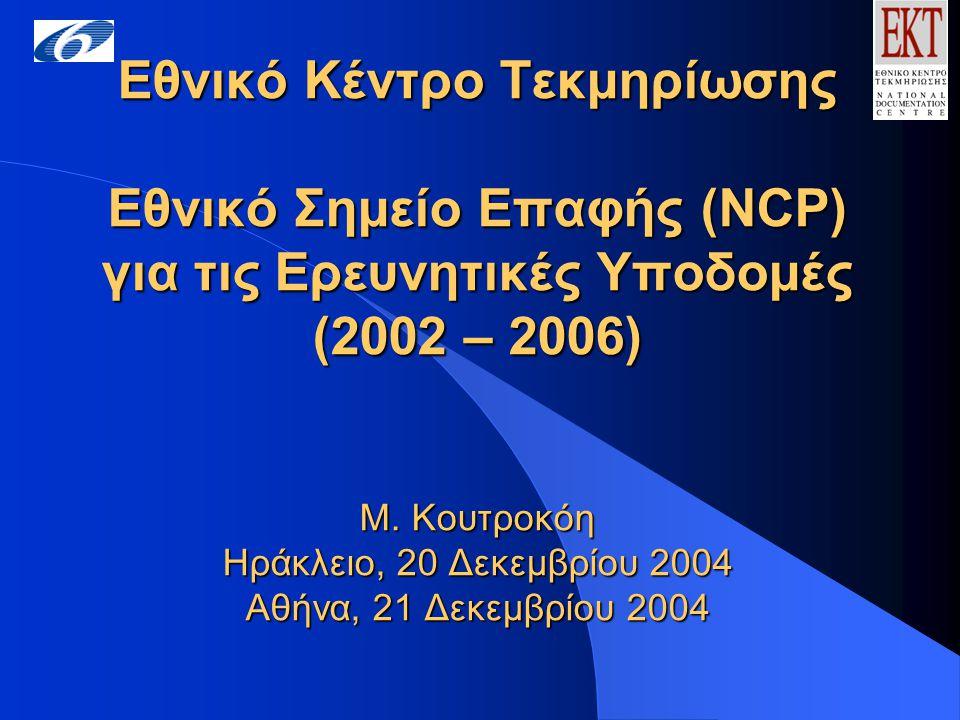 Εθνικό Κέντρο Τεκμηρίωσης Εθνικό Σημείο Επαφής (NCP) για τις Ερευνητικές Υποδομές (2002 – 2006) Μ.