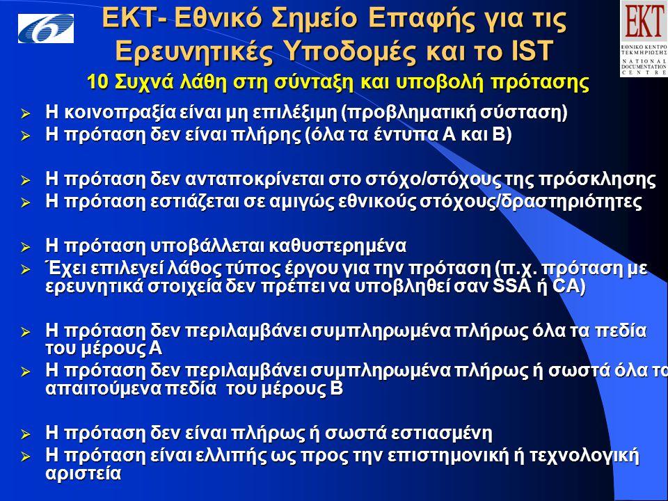ΕΚΤ- Εθνικό Σημείο Επαφής για τις Ερευνητικές Υποδομές και το IST 10 Συχνά λάθη στη σύνταξη και υποβολή πρότασης  Η κοινοπραξία είναι μη επιλέξιμη (προβληματική σύσταση)  Η πρόταση δεν είναι πλήρης (όλα τα έντυπα Α και Β)  Η πρόταση δεν ανταποκρίνεται στο στόχο/στόχους της πρόσκλησης  Η πρόταση εστιάζεται σε αμιγώς εθνικούς στόχους/δραστηριότητες  Η πρόταση υποβάλλεται καθυστερημένα  Έχει επιλεγεί λάθος τύπος έργου για την πρόταση (π.χ.