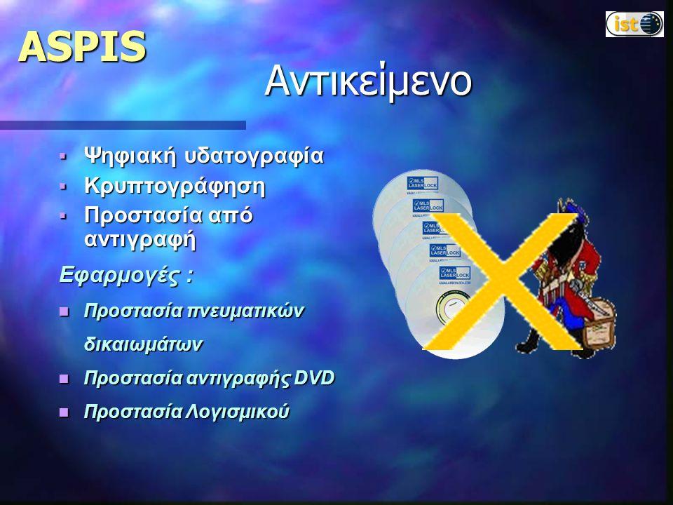 ASPIS  Ψηφιακή υδατογραφία  Κρυπτογράφηση  Προστασία από αντιγραφή Εφαρμογές : Προστασία πνευματικών δικαιωμάτων Προστασία πνευματικών δικαιωμάτων Προστασία αντιγραφής DVD Προστασία αντιγραφής DVD Προστασία Λογισμικού Προστασία Λογισμικού Αντικείμενο