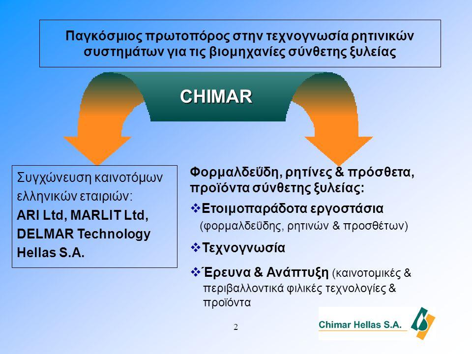 2 Παγκόσμιος πρωτοπόρος στην τεχνογνωσία ρητινικών συστημάτων για τις βιομηχανίες σύνθετης ξυλείας CHIMAR Συγχώνευση καινοτόμων ελληνικών εταιριών: ARI Ltd, MARLIT Ltd, DELMAR Technology Hellas S.A.