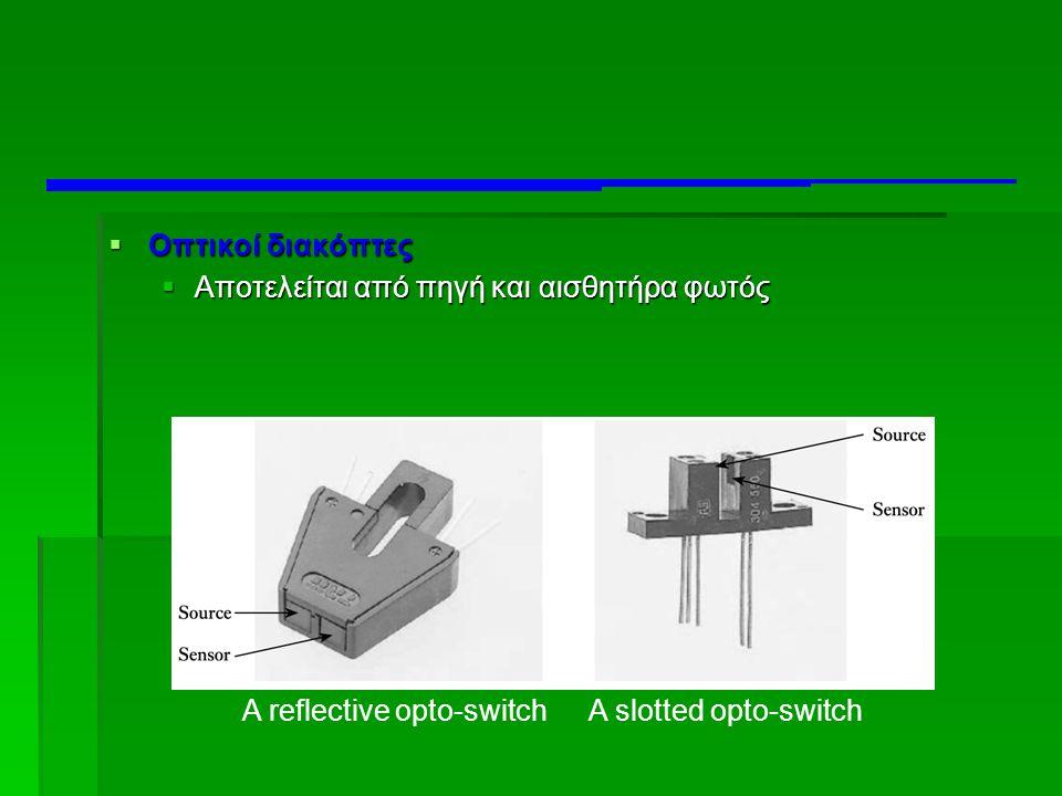  Οπτικοί διακόπτες  Αποτελείται από πηγή και αισθητήρα φωτός A reflective opto-switchA slotted opto-switch