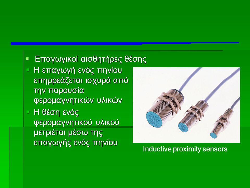  Επαγωγικοί αισθητήρες θέσης Inductive proximity sensors  Η επαγωγή ενός πηνίου επηρρεάζεται ισχυρά από την παρουσία φερομαγνητικών υλικών  Η θέση