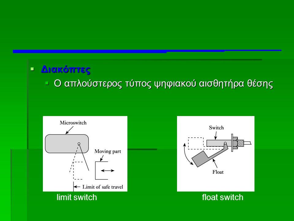  Διακόπτες  Ο απλούστερος τύπος ψηφιακού αισθητήρα θέσης limit switchfloat switch