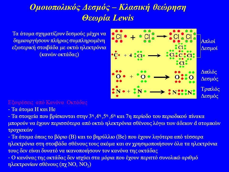 Ομοιοπολικός Δεσμός – Κλασική θεώρηση Θεωρία Lewis Τα άτομα σχηματίζουν δεσμούς μέχρι να δημιουργήσουν πλήρως συμπληρωμένη εξωτερική στοιβάδα με οκτώ