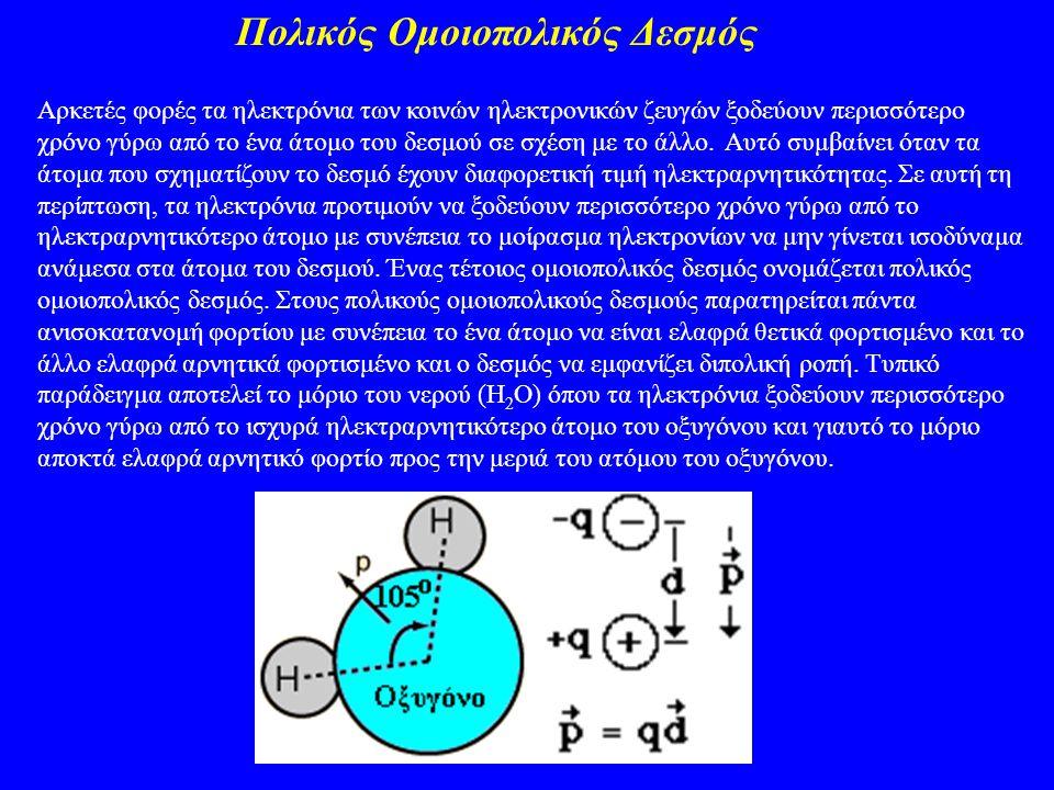 Πολικός Ομοιοπολικός Δεσμός Αρκετές φορές τα ηλεκτρόνια των κοινών ηλεκτρονικών ζευγών ξοδεύουν περισσότερο χρόνο γύρω από το ένα άτομο του δεσμού σε
