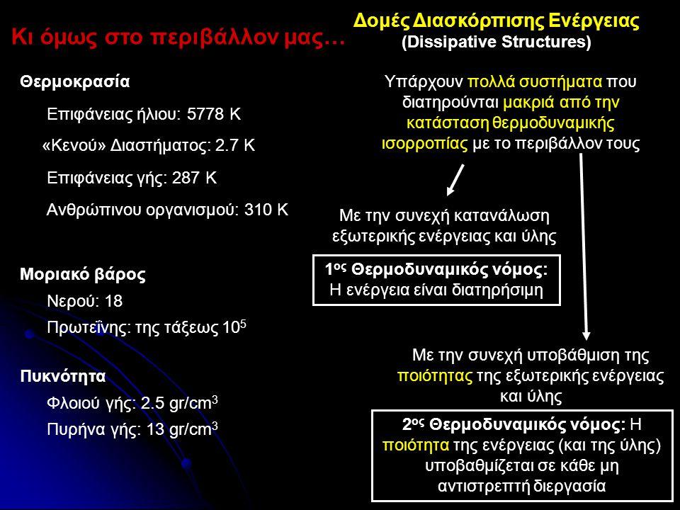 Εξέργεια Ύλης (Χημική Εξέργεια) Α.Ο.: +3 Α.Ο.: +2, +3 Α.Ο.: +2 Α.Ο.: 0 Ποιότητα ύλης σε οξειδωτικό περιβάλλον Εξέργεια (Β) Η παραγωγή μεταλλικού Fe από αιματίτη απαιτεί την κατανάλωση 369 kJ/mol Fe ή 6605 kJ/kg Fe εξέργειας Η ιδεατή παραγωγή μεταλλικού Fe από (καθαρό) αιματίτη με αντιστρεπτές διεργασίες θα απαιτούσε μετατροπή ενέργειας 6605 kJ ανά kg Fe Η παραγωγή ατσαλιού σήμερα καταναλώνει περίπου 15000 kJ/kg Fe εξέργειας Η χημική εξέργεια ποσοτικοποιεί την «χημική» ποιότητα της ύλης σε σχέση πάντα με το περιβάλλον μας Η ελεύθερη ενέργεια κατά Gibbs δεν προσφέρεται για συγκρίσεις της αξίας της ύλης