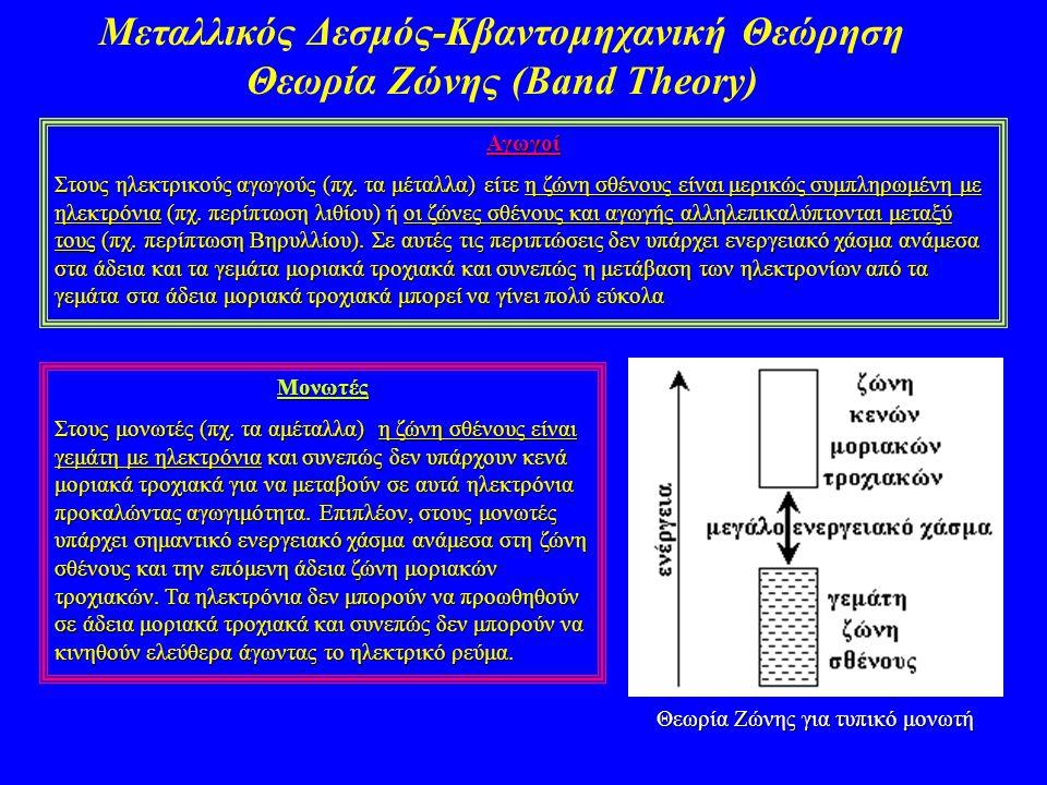 Μεταλλικός Δεσμός-Κβαντομηχανική Θεώρηση Θεωρία Ζώνης (Band Theory)Αγωγοί Στους ηλεκτρικούς αγωγούς (πχ. τα μέταλλα) είτε η ζώνη σθένους είναι μερικώς