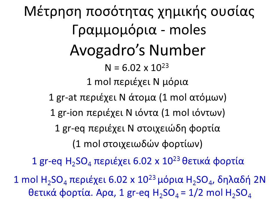 Avogadro's Number Ν = 6.02 x 10 23 Μέτρηση ποσότητας χημικής ουσίας Γραμμομόρια - moles 1 mol περιέχει Ν μόρια 1 gr-at περιέχει Ν άτομα (1 mol ατόμων)