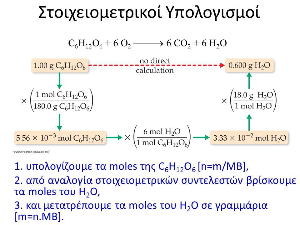 Στοιχειομετρικοί Υπολογισμοί 1. υπολογίζουμε τα moles της C 6 H 12 O 6 [n=m/MB], 2. από αναλογία στοιχειομετρικών συντελεστών βρίσκουμε τα moles του H