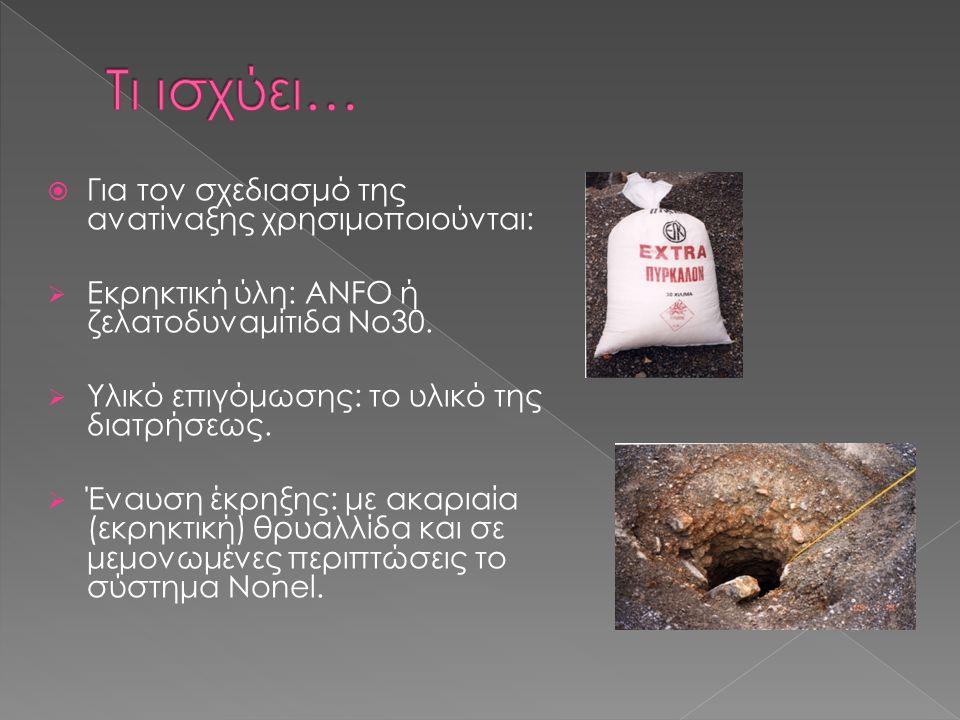  Για τον σχεδιασμό της ανατίναξης χρησιμοποιούνται:  Εκρηκτική ύλη: ANFO ή ζελατοδυναμίτιδα Νο30.