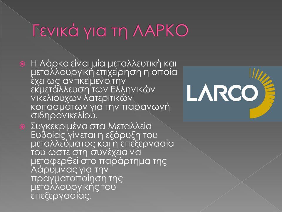  Η Λάρκο είναι μία μεταλλευτική και μεταλλουργική επιχείρηση η οποία έχει ως αντικείμενο την εκμετάλλευση των Ελληνικών νικελιούχων λατεριτικών κοιτασμάτων για την παραγωγή σιδηρονικελίου.
