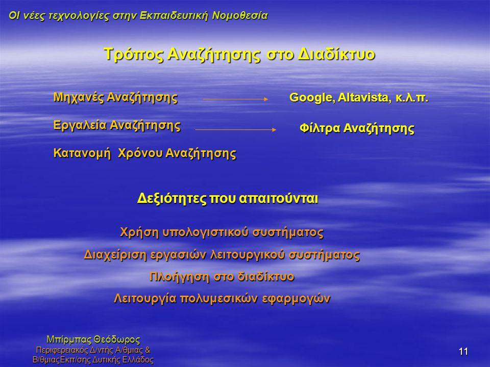 ΟΙ νέες τεχνολογίες στην Εκπαιδευτική Νομοθεσία Μπίρμπας Θεόδωρος Περιφερειακός Δ/ντής Α/θμιας & Β/θμιαςΕκπ/σης Δυτικής Ελλάδος 11 Τρόπος Αναζήτησης σ