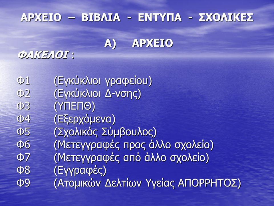 ΑΡΧΕΙΟ – ΒΙΒΛΙΑ - ΕΝΤΥΠΑ - ΣΧΟΛΙΚΕΣ Α) ΑΡΧΕΙΟ ΦΑΚΕΛΟΙ : Φ1 (Εγκύκλιοι γραφείου) Φ2 (Εγκύκλιοι Δ-νσης) Φ3 (ΥΠΕΠΘ) Φ4 (Εξερχόμενα) Φ5 (Σχολικός Σύμβουλο