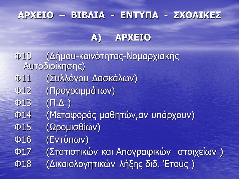 ΑΡΧΕΙΟ – ΒΙΒΛΙΑ - ΕΝΤΥΠΑ - ΣΧΟΛΙΚΕΣ Α) ΑΡΧΕΙΟ Φ10 (Δήμου-κοινότητας-Νομαρχιακής Αυτοδιοίκησης) Φ11 (Συλλόγου Δασκάλων) Φ12 (Προγραμμάτων) Φ13 (Π.Δ ) Φ