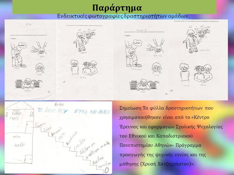 Παράρτημα Ενδεικτικές φωτογραφίες δραστηριοτήτων ομάδων. Σημείωση:Τα φύλλα δραστηριοτήτων που χρησιμοποιήθηκαν είναι από το «Κέντρο Έρευνας και εφαρμο