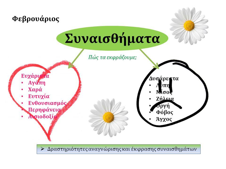 Συναισθήματα Φεβρουάριος Ευχάριστα Αγάπη Χαρά Ευτυχία Ενθουσιασμός Περηφάνεια Αισιοδοξία Δυσάρεστα Λύπη Μίσος Ζήλεια Οργή Φόβος Άγχος Πώς τα εκφράζουμ