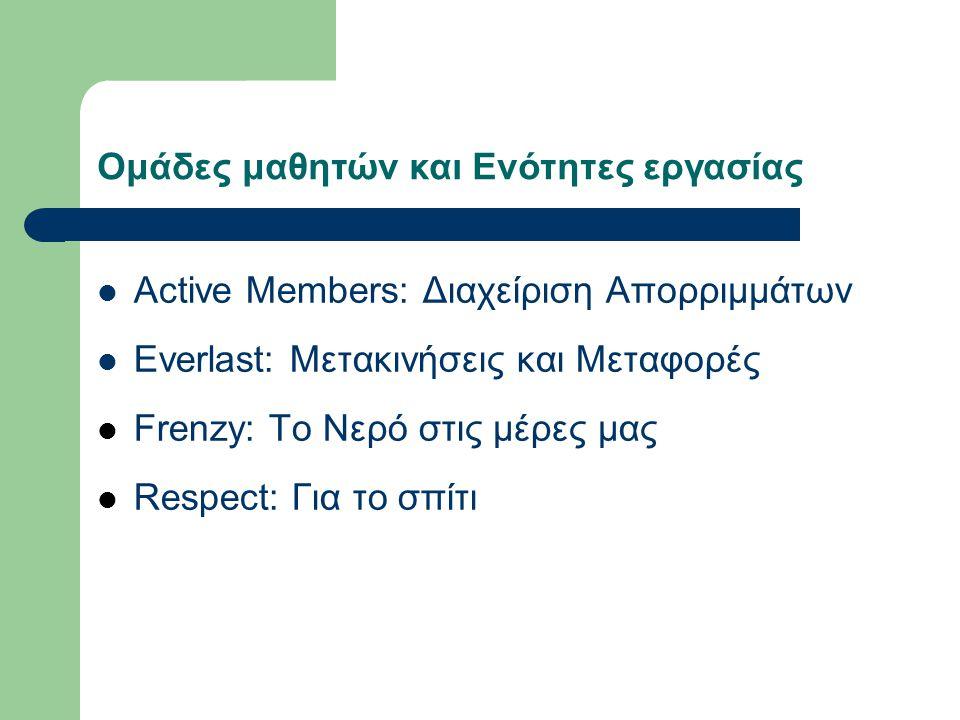 Ομάδες μαθητών και Ενότητες εργασίας Active Members: Διαχείριση Απορριμμάτων Everlast: Μετακινήσεις και Μεταφορές Frenzy: Το Νερό στις μέρες μας Respe