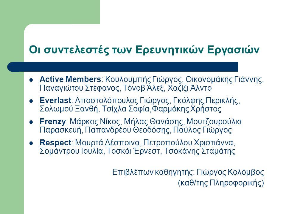 Οι συντελεστές των Ερευνητικών Εργασιών Active Members: Κουλουμπής Γιώργος, Οικονομάκης Γιάννης, Παναγιώτου Στέφανος, Τόνοβ Άλεξ, Χαζίζι Άλντο Everlas