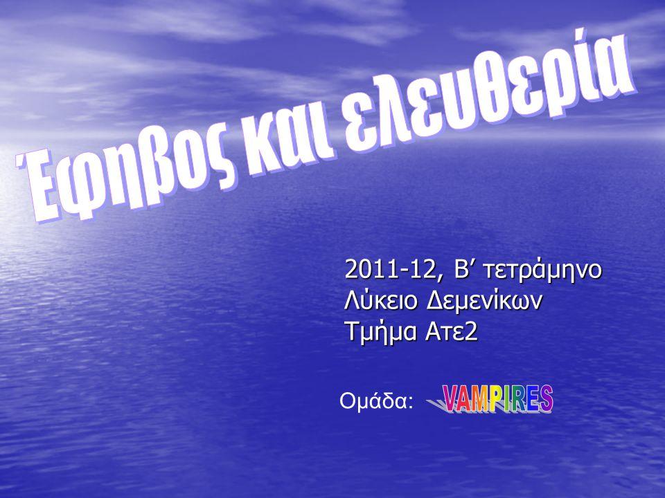 2011-12, Β' τετράμηνο Λύκειο Δεμενίκων Τμήμα Ατε2 Ομάδα: