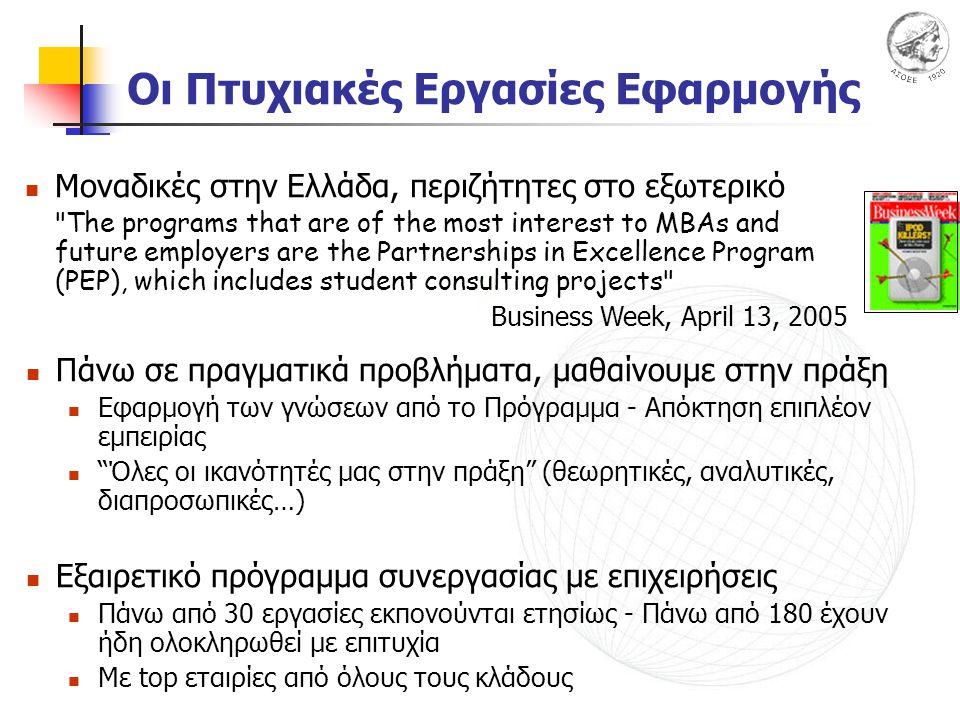 Οι Πτυχιακές Εργασίες Εφαρμογής Πάνω σε πραγματικά προβλήματα, μαθαίνουμε στην πράξη Εφαρμογή των γνώσεων από το Πρόγραμμα - Απόκτηση επιπλέον εμπειρίας Όλες οι ικανότητές μας στην πράξη (θεωρητικές, αναλυτικές, διαπροσωπικές…) Εξαιρετικό πρόγραμμα συνεργασίας με επιχειρήσεις Πάνω από 30 εργασίες εκπονούνται ετησίως - Πάνω από 180 έχουν ήδη ολοκληρωθεί με επιτυχία Με top εταιρίες από όλους τους κλάδους Μοναδικές στην Ελλάδα, περιζήτητες στο εξωτερικό The programs that are of the most interest to MBAs and future employers are the Partnerships in Excellence Program (PEP), which includes student consulting projects Business Week, April 13, 2005