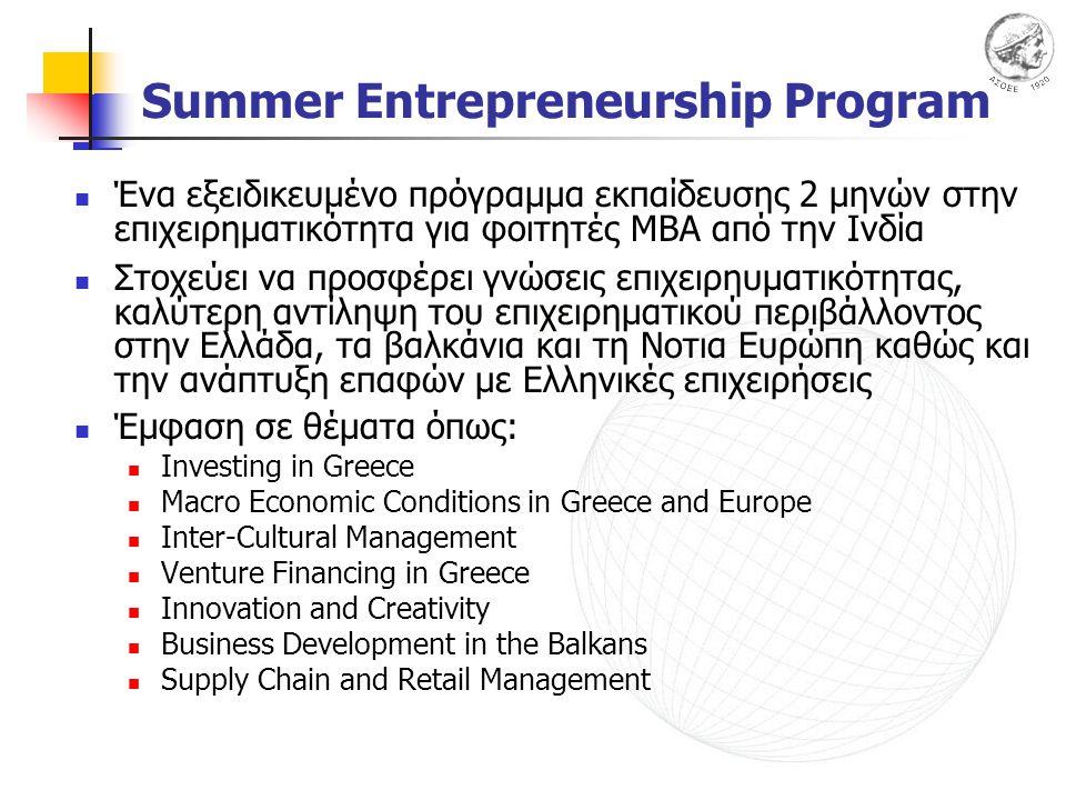 Summer Entrepreneurship Program Ένα εξειδικευμένο πρόγραμμα εκπαίδευσης 2 μηνών στην επιχειρηματικότητα για φοιτητές ΜΒΑ από την Ινδία Στοχεύει να προσφέρει γνώσεις επιχειρηυματικότητας, καλύτερη αντίληψη του επιχειρηματικού περιβάλλοντος στην Ελλάδα, τα βαλκάνια και τη Νοτια Ευρώπη καθώς και την ανάπτυξη επαφών με Ελληνικές επιχειρήσεις Έμφαση σε θέματα όπως: Investing in Greece Macro Economic Conditions in Greece and Europe Inter-Cultural Management Venture Financing in Greece Innovation and Creativity Business Development in the Balkans Supply Chain and Retail Management