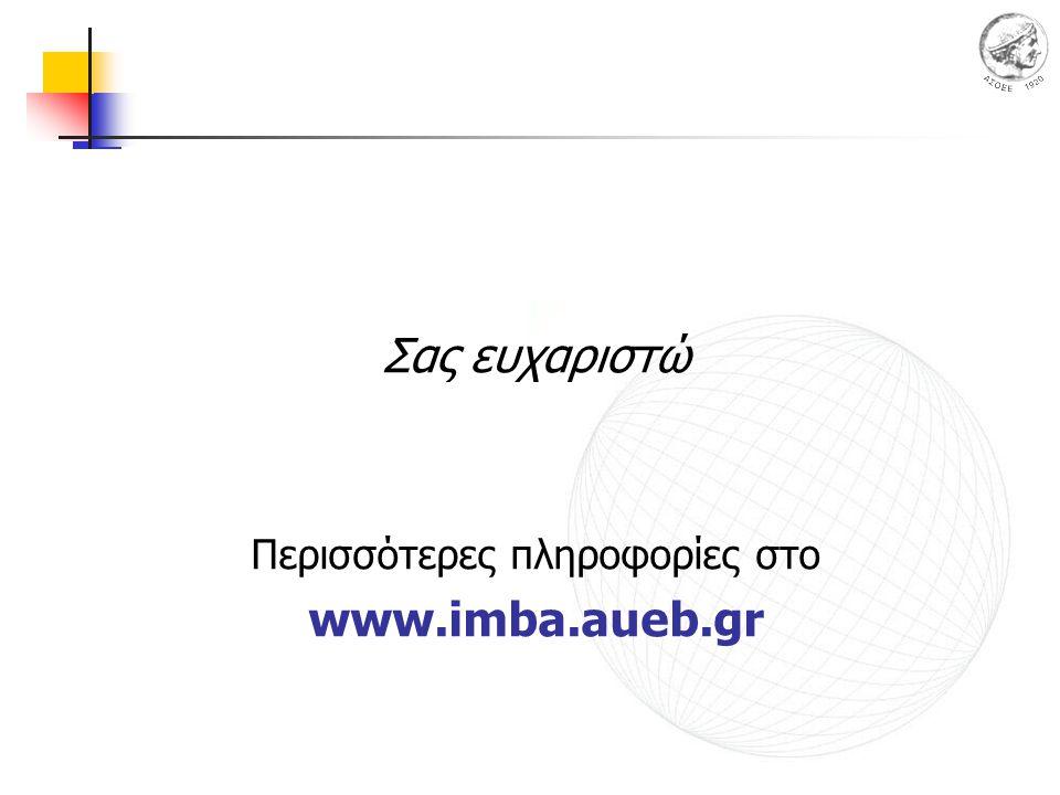 Σας ευχαριστώ Περισσότερες πληροφορίες στο www.imba.aueb.gr