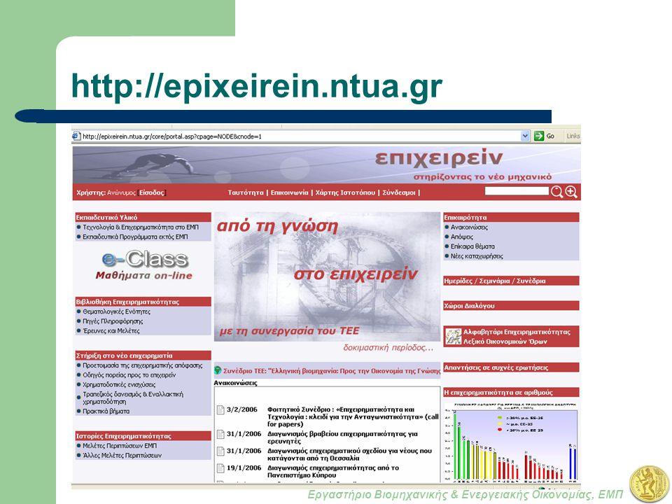 Εργαστήριο Βιομηχανικής & Ενεργειακής Οικονομίας, ΕΜΠ http://epixeirein.ntua.gr