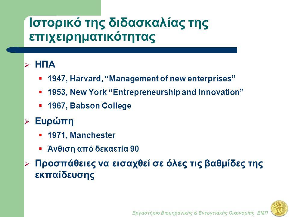 Εργαστήριο Βιομηχανικής & Ενεργειακής Οικονομίας, ΕΜΠ Ιστορικό της διδασκαλίας της επιχειρηματικότητας  ΗΠΑ  1947, Harvard, Management of new enterprises  1953, New York Entrepreneurship and Innovation  1967, Babson College  Ευρώπη  1971, Manchester  Άνθιση από δεκαετία 90  Προσπάθειες να εισαχθεί σε όλες τις βαθμίδες της εκπαίδευσης