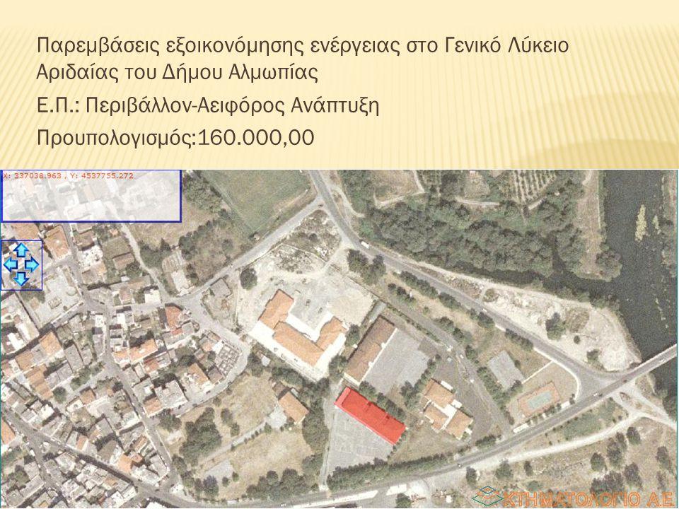 Παρεμβάσεις εξοικονόμησης ενέργειας στο Γενικό Λύκειο Αριδαίας του Δήμου Αλμωπίας Ε.Π.: Περιβάλλον-Αειφόρος Ανάπτυξη Προυπολογισμός:160.000,00