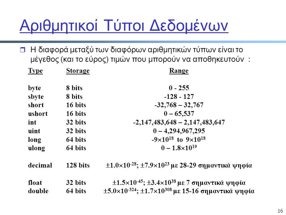 16 Αριθμητικοί Τύποι Δεδομένων r Η διαφορά μεταξύ των διαφόρων αριθμητικών τύπων είναι το μέγεθος (και το εύρος) τιμών που μπορούν να αποθηκευτούν : R