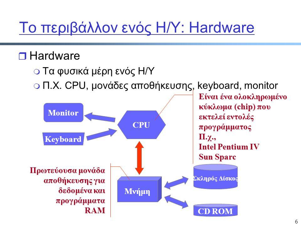 6 Το περιβάλλον ενός Η/Υ: Hardware r Hardware m Τα φυσικά μέρη ενός Η/Υ m Π.Χ. CPU, μονάδες αποθήκευσης, keyboard, monitor Monitor Keyboard Μνήμη CPU