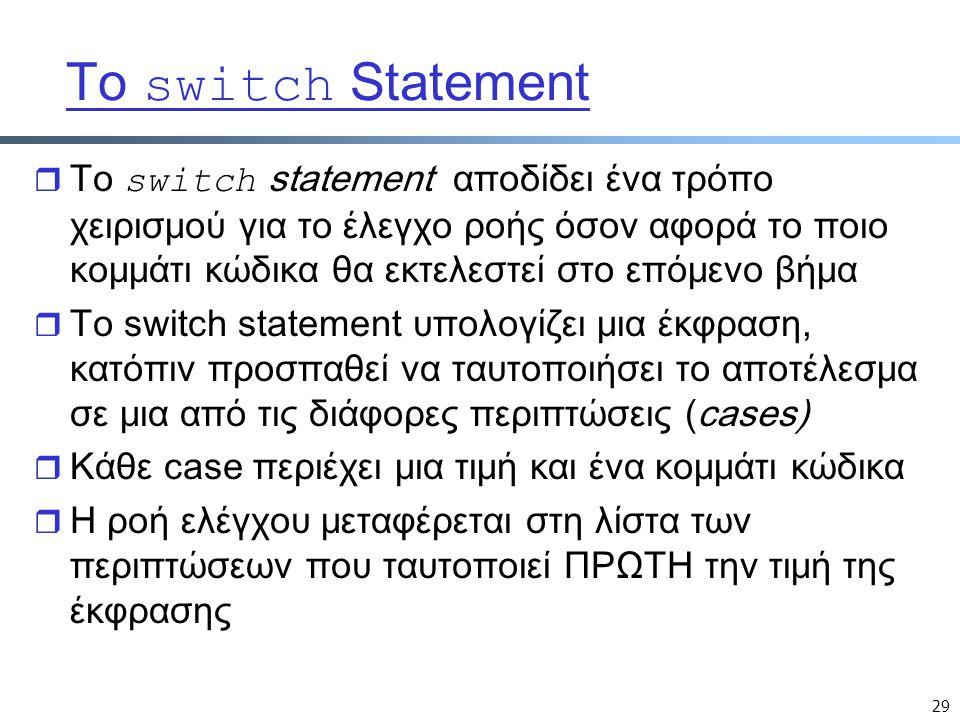 29 Tο switch Statement  Tο switch statement αποδίδει ένα τρόπο χειρισμού για το έλεγχο ροής όσον αφορά το ποιο κομμάτι κώδικα θα εκτελεστεί στο επόμενο βήμα r Το switch statement υπολογίζει μια έκφραση, κατόπιν προσπαθεί να ταυτοποιήσει το αποτέλεσμα σε μια από τις διάφορες περιπτώσεις (cases) r Κάθε case περιέχει μια τιμή και ένα κομμάτι κώδικα r Η ροή ελέγχου μεταφέρεται στη λίστα των περιπτώσεων που ταυτοποιεί ΠΡΩΤΗ την τιμή της έκφρασης