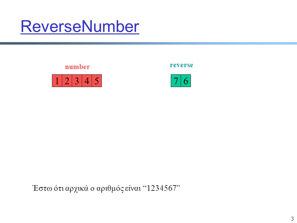 3 ReverseNumber 1254376 number reverse Έστω ότι αρχικά ο αριθμός είναι 1234567