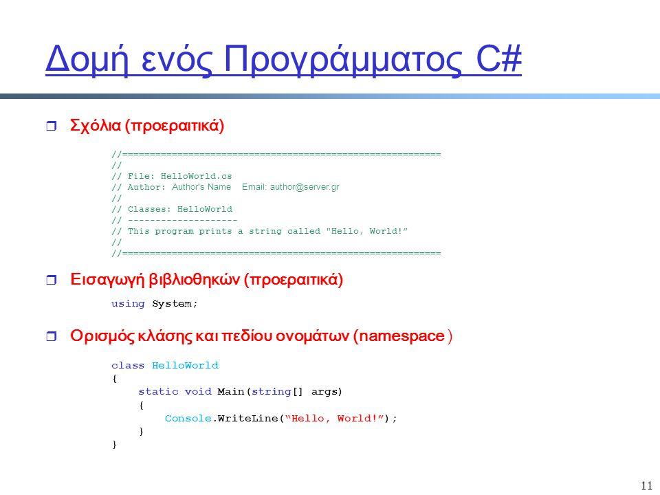 11 Δομή ενός Προγράμματος C# r Σχόλια (προεραιτικά) //========================================================== // // File: HelloWorld.cs // Author: