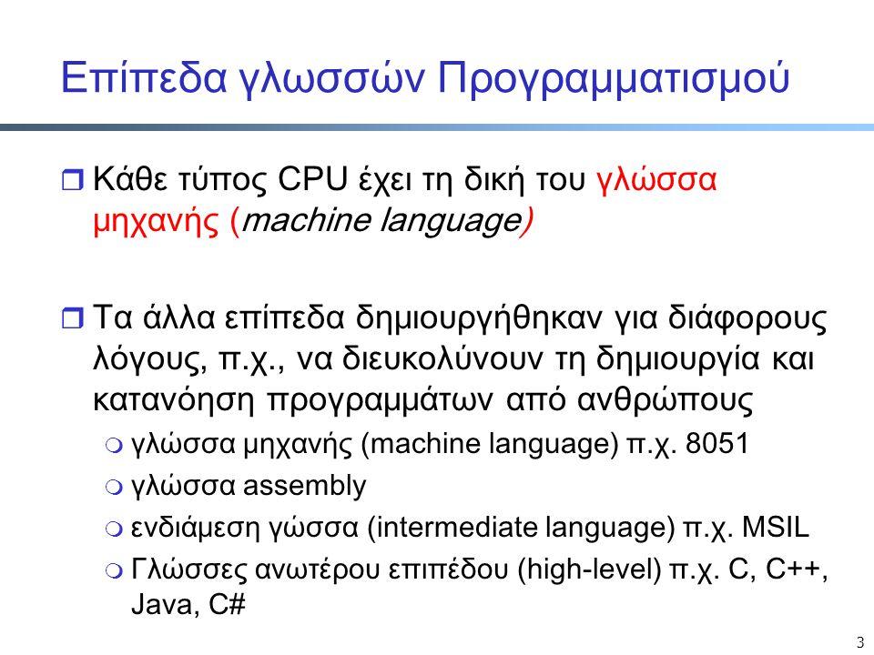 3 Επίπεδα γλωσσών Προγραμματισμού r Κάθε τύπος CPU έχει τη δική του γλώσσα μηχανής (machine language) r Τα άλλα επίπεδα δημιουργήθηκαν για διάφορους λ