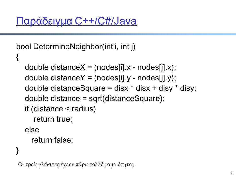 6 Παράδειγμα C++/C#/Java bool DetermineNeighbor(int i, int j) { double distanceX = (nodes[i].x - nodes[j].x); double distanceY = (nodes[i].y - nodes[j