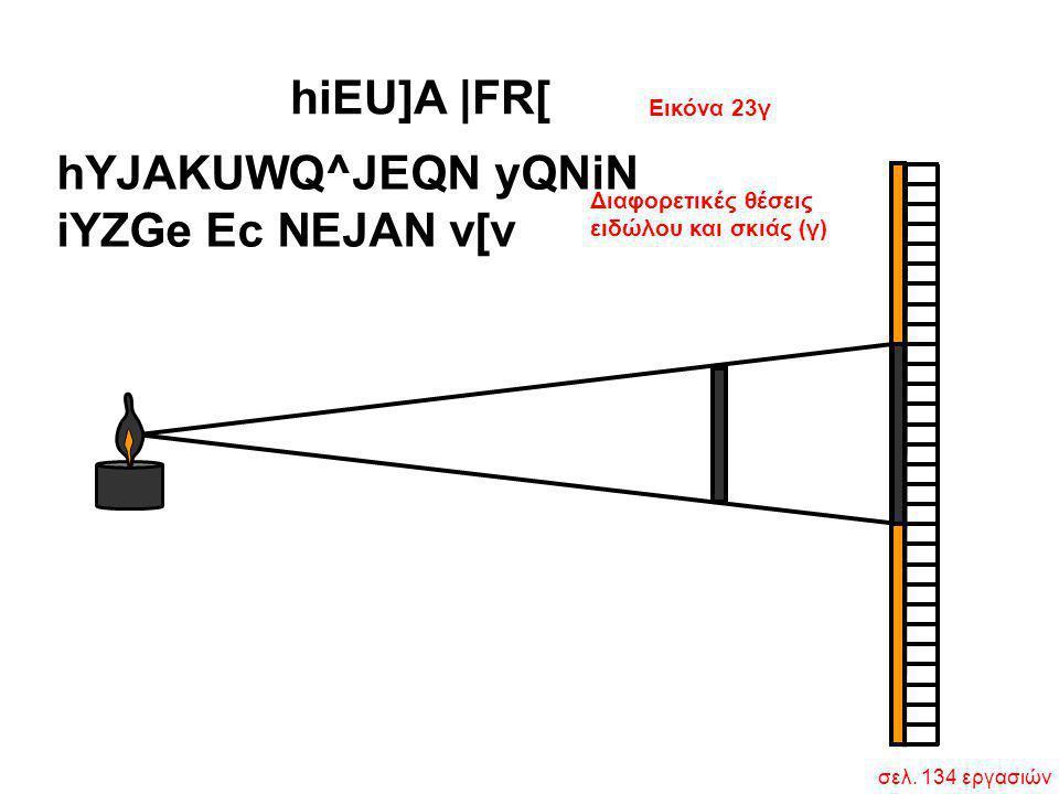 Διαφορετικές θέσεις ειδώλου και σκιάς (γ) hYJAKUWQ^JEQN yQNiN iYZGe Ec NEJAN v[v Εικόνα 23γ hiEU]A  FR[ σελ. 134 εργασιών