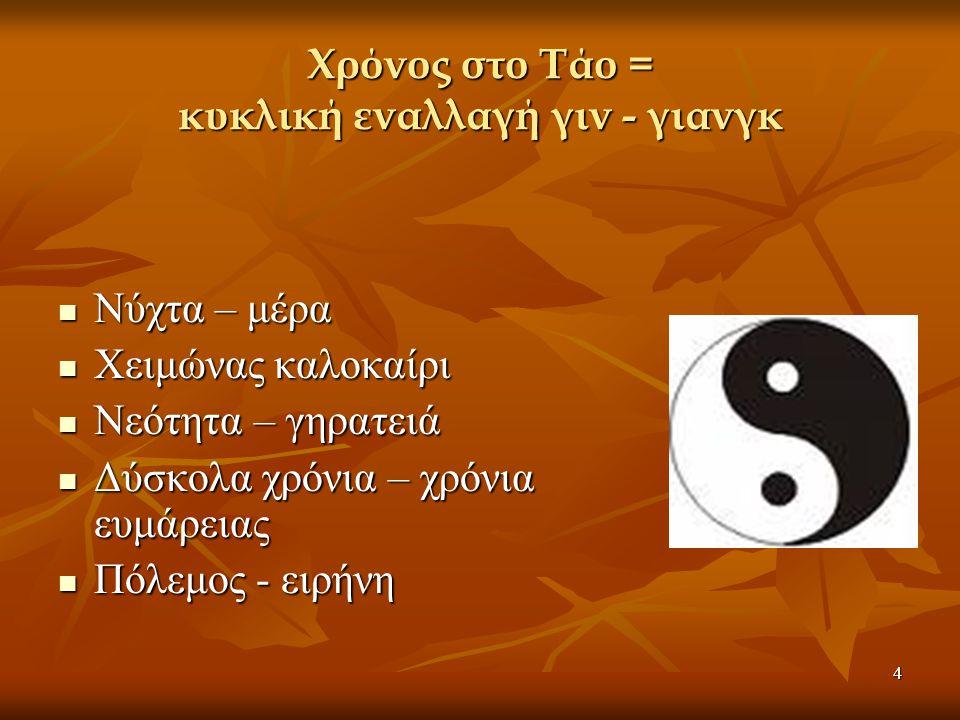 4 Χρόνος στο Τάο = κυκλική εναλλαγή γιν - γιανγκ Νύχτα – μέρα Νύχτα – μέρα Χειμώνας καλοκαίρι Χειμώνας καλοκαίρι Νεότητα – γηρατειά Νεότητα – γηρατειά