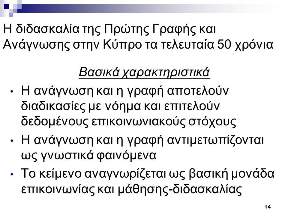 15 Η διδασκαλία της Πρώτης Γραφής και Ανάγνωσης στην Κύπρο τα τελευταία 50 χρόνια Η κατάκτηση της ανάγνωσης και της γραφής επικεντρώνεται στην κοινωνική διάσταση και φύση του γραπτού λόγου Κάθε ενέργεια σχετική με τη μάθηση της ανάγνωσης και της γραφής στηρίζεται στην προσφορά ευκαιριών στα παιδιά για τη συνεχή δόμηση των γνώσεών τους για τον γραπτό λόγο Ενθαρρύνεται η παραγωγή προφορικού και γραπτού λόγου σε ποικίλα περιβάλλοντα, με ποικιλία κειμένων