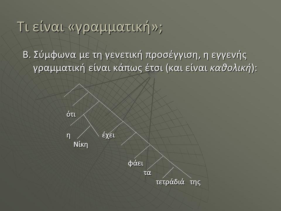 Τι είναι «γραμματική»; Β. Σύμφωνα με τη γενετική προσέγγιση, η εγγενής γραμματική είναι κάπως έτσι (και είναι καθολική): ότι ότι η έχει Νίκη φάει τα τ