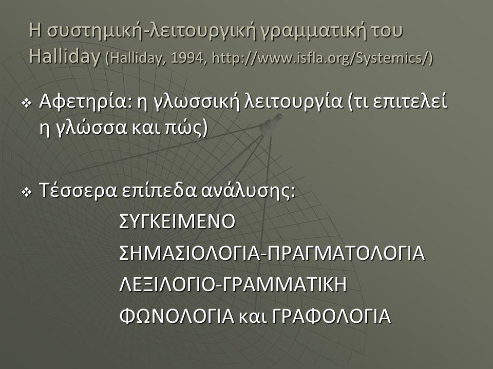 Η συστημική-λειτουργική γραμματική του Halliday (Halliday, 1994, http://www.isfla.org/Systemics/)  Αφετηρία: η γλωσσική λειτουργία (τι επιτελεί η γλώ