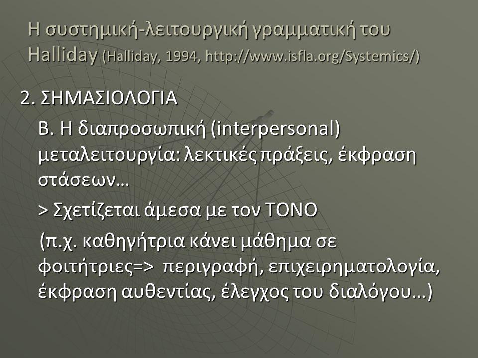 Η συστημική-λειτουργική γραμματική του Halliday (Halliday, 1994, http://www.isfla.org/Systemics/) 2. ΣΗΜΑΣΙΟΛΟΓΙΑ Β. Η διαπροσωπική (interpersonal) με