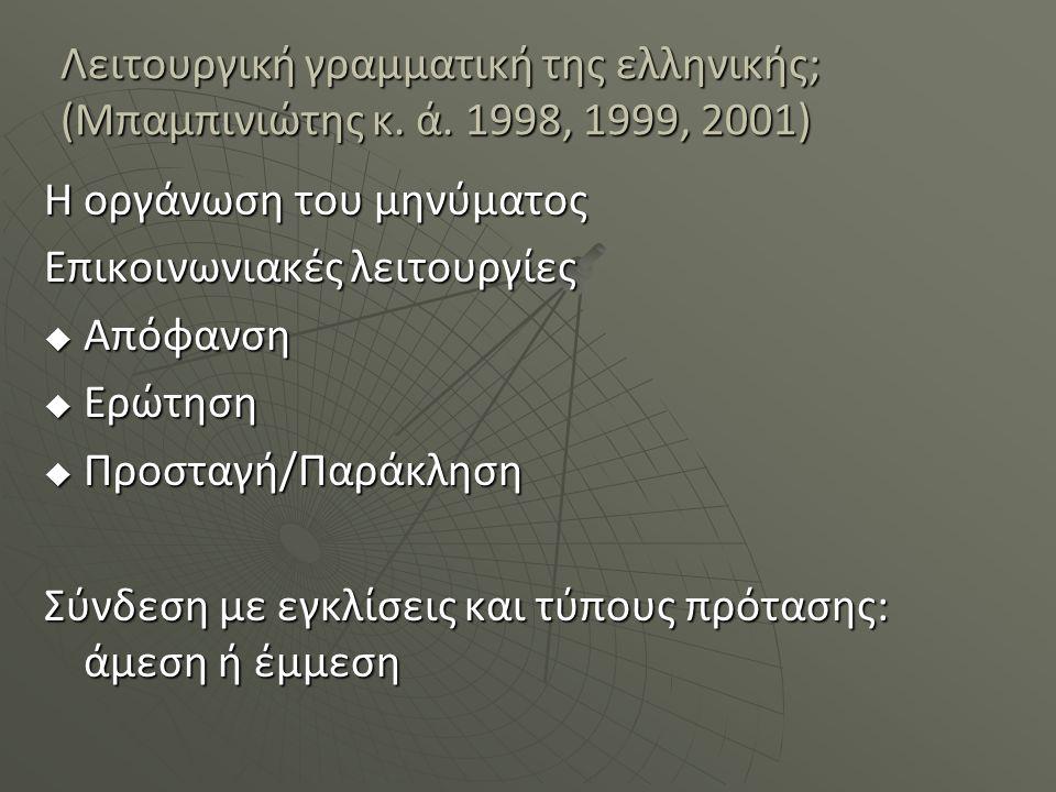 Λειτουργική γραμματική της ελληνικής; (Μπαμπινιώτης κ. ά. 1998, 1999, 2001) Η οργάνωση του μηνύματος Επικοινωνιακές λειτουργίες  Απόφανση  Ερώτηση 