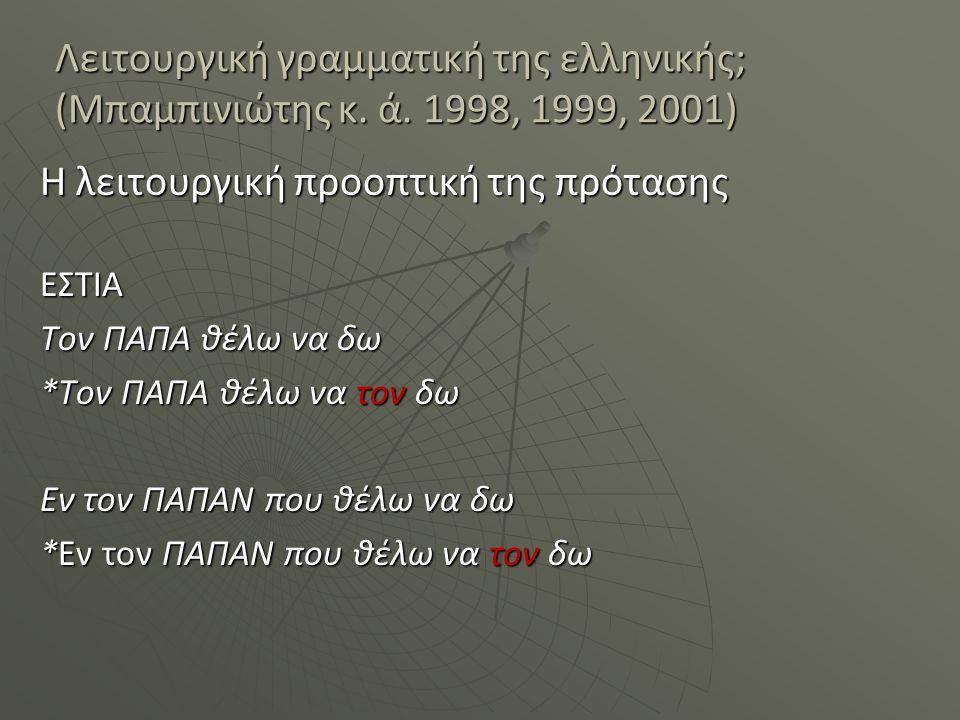 Λειτουργική γραμματική της ελληνικής; (Μπαμπινιώτης κ. ά. 1998, 1999, 2001) Η λειτουργική προοπτική της πρότασης ΕΣΤΙΑ Τον ΠΑΠΑ θέλω να δω *Τον ΠΑΠΑ θ