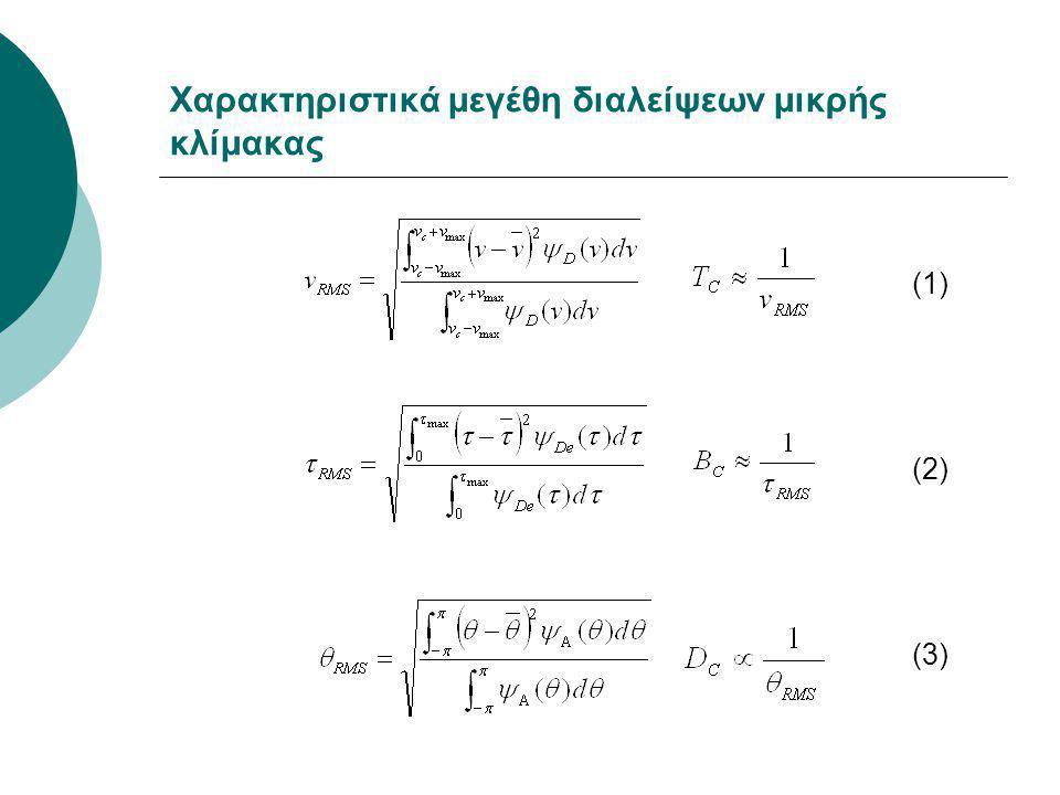 Χαρακτηριστικά μεγέθη διαλείψεων μικρής κλίμακας (1) (2) (3)