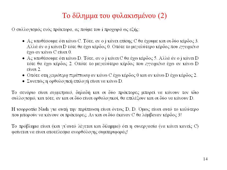 14 Το δίλημμα του φυλακισμένου (2)