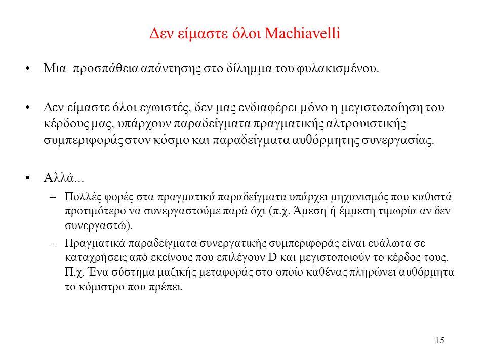 15 Δεν είμαστε όλοι Machiavelli Μια προσπάθεια απάντησης στο δίλημμα του φυλακισμένου. Δεν είμαστε όλοι εγωιστές, δεν μας ενδιαφέρει μόνο η μεγιστοποί