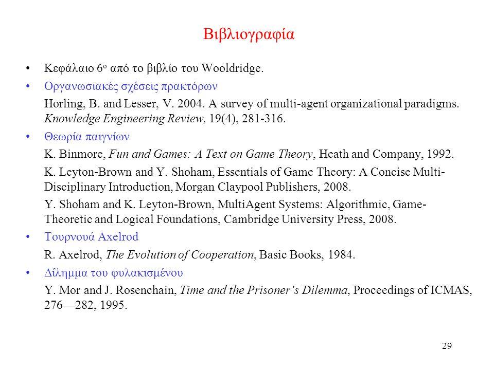 29 Βιβλιογραφία Κεφάλαιο 6 ο από το βιβλίο του Wooldridge. Οργανωσιακές σχέσεις πρακτόρων Horling, B. and Lesser, V. 2004. A survey of multi-agent org